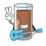 Med ny chokladfärgstänk för gitarr på hällande maskot stock illustrationer