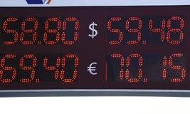 Med orden sälj köpet på de finansiella schemana Selektivt fikuseuro, dollar arkivfoto