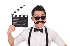 Med polisonger ung man med clapperboard som isoleras på Arkivbild