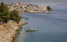 Med Seaside Village. The village of Ermione on the shores of Greece - cliche Med waterfront scene Royalty Free Stock Photo