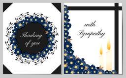 Med sympati Begravnings- kort royaltyfri illustrationer