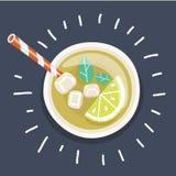 Med is te med den skivade citronen och mintkaramellen royaltyfri illustrationer
