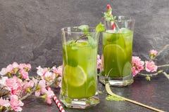 Med is te för Matcha mintkaramell Arkivbilder
