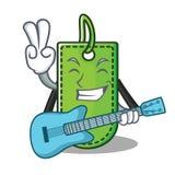 Med tecknade filmen för gitarrprislappmaskot royaltyfri illustrationer