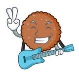 Med tecknade filmen för maskot för gitarrchoklad den ljusbruna vektor illustrationer