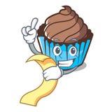 Med tecknade filmen för maskot för menychokladmuffin royaltyfri illustrationer