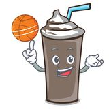 Med tecknade filmen för tecken för basketischoklad royaltyfri illustrationer