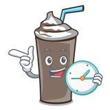 Med tecknade filmen för tecken för klockaischoklad stock illustrationer