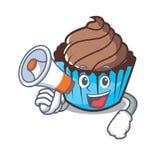 Med tecknade filmen för tecken för megafonchokladmuffin royaltyfri illustrationer