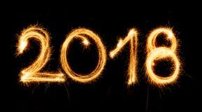 2018 med tomtebloss på svart bakgrund Fotografering för Bildbyråer