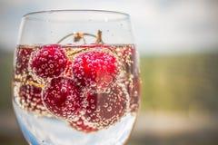 Med is uppfriskningdrink för sommar, körsbärsröd colalemonad eller mojitococtail i högväxt exponeringsglas, på ljus - blått och g arkivfoton