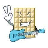 Med vit choklad för gitarr på maskotträtabellen royaltyfri illustrationer