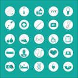 med Vlakke pictogrammenreeks geneesmiddelen, diagnostiek, behandeling, gezondheidszorg Stock Afbeeldingen