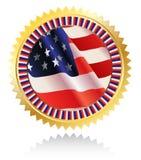 Medaglia con la bandiera americana Fotografia Stock Libera da Diritti