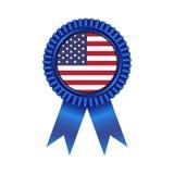 Medaglia con lo stato unito di progettazione dell'illustrazione della bandiera dell'America Immagini Stock Libere da Diritti