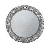 Medaglia d'argento in bianco immagini stock