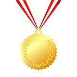 Medaglia d'oro con corda Fotografia Stock