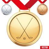 Medaglia d'oro con il simbolo di un golf dentro Fotografie Stock