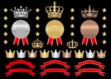 Medaglia d'oro, medaglia di argento, insieme della medaglia di bronzo Fotografia Stock Libera da Diritti