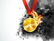Medaglia d'oro in fuoco per il concetto di sport Fotografia Stock Libera da Diritti