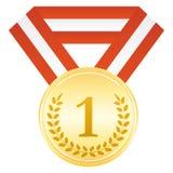 Medaglia d'oro per il vincitore primo posto Icona di cerimonia di premiazione Immagine Stock Libera da Diritti