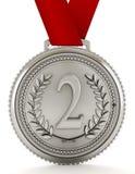 Medaglia di argento con il numero due illustrazione 3D Immagine Stock
