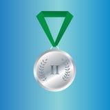 Medaglia di argento del campione con il nastro Immagini Stock