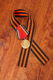 Medaglia 20 di giubileo della vittoria nella grande guerra patriottica di 1941-1945 e nel nastro di George Fotografia Stock Libera da Diritti
