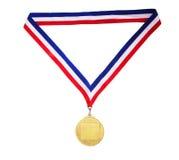 Medaglia di oro in bianco fotografia stock