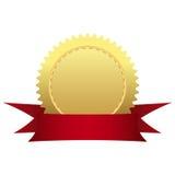 Medaglia di oro con il nastro Fotografia Stock Libera da Diritti