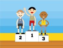Medaglia di sport che sta su un podio Fotografia Stock Libera da Diritti