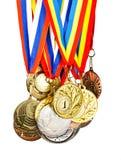 Medaglia di sport. Foto isolate su priorità bassa bianca Fotografia Stock