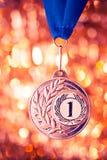 Medaglia dorata del primo posto Fotografia Stock