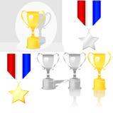 Medaglia lucida del premio del trofeo Fotografia Stock