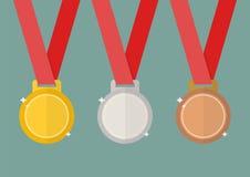 Medaglie del premio dell'argento e del bronzo dell'oro Fotografia Stock