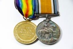 Medaglie di guerra mondiale 1 BRITANNICHE Fotografia Stock