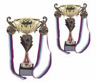 Medaglie e trofeo di sport immagini stock