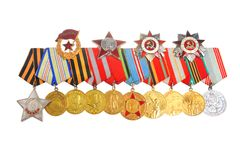 Medaglie ed ordini di grande guerra patriottica isolata Fotografie Stock