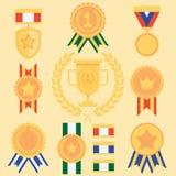Medaglie piane delle icone di successo di stile messe Immagine Stock Libera da Diritti