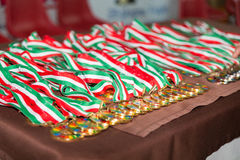 medaglie sulla tavola Fotografia Stock