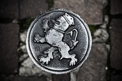 Medaglione d'acciaio rotondo (roundel) in signore, Fiandre, Belgio Immagine Stock