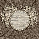 Medaglione di legno antico Fotografie Stock