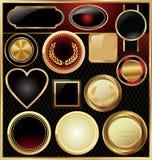 Medaglione dorato vuoto - insieme Immagini Stock