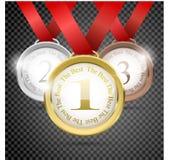 Medaille eingestellt auf transparenten Hintergrund Stockfotografie