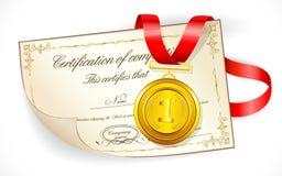 Medaille op Certificaat Stock Foto's