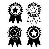 Medaille vastgestelde zwart-witte geïsoleerde pictogrammen Royalty-vrije Stock Afbeeldingen