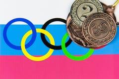Medaillen des russischen Teams an den Olympischen Spielen lizenzfreie stockfotos