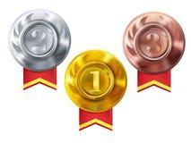 Medaillen Gold, Silber, Bronzevektormeisterpreise vektor abbildung