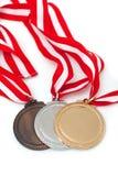 Medaillen mit Farbbändern Lizenzfreies Stockfoto