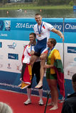 Medaillen-Zeremonie, Herreneinzel Sculls, europäisches ruderndes Championshi lizenzfreies stockbild